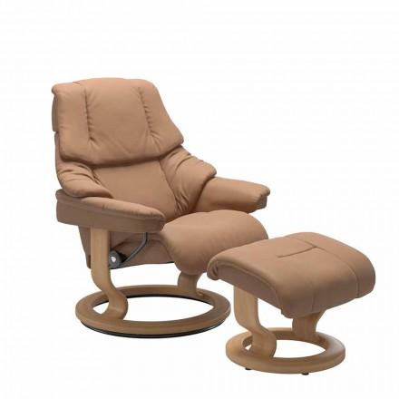Sillón reclinable de cuero con reposacabezas y otomana - Reno Stressless