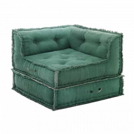 Sillón Chaise Longue de esquina en algodón gris, verde o azul - Fibra