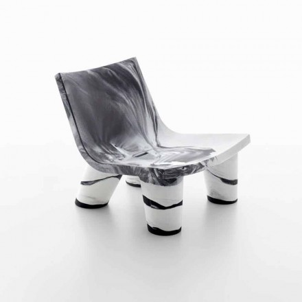 Chaise longue en blanco y negro Slide Low Lita Anniversary
