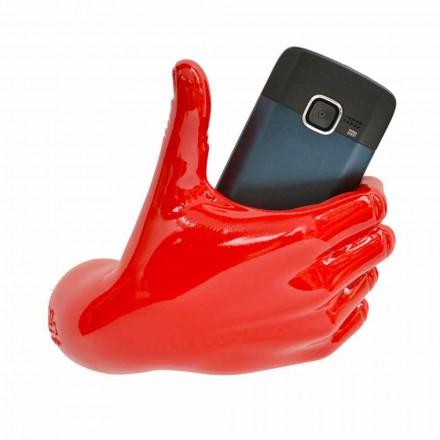Soporte para teléfono móvil moderno en resina decorada a mano Made in Italy - Curia