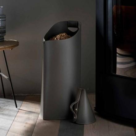 Porta pellet moderno de interior de cuero color negro Sapir