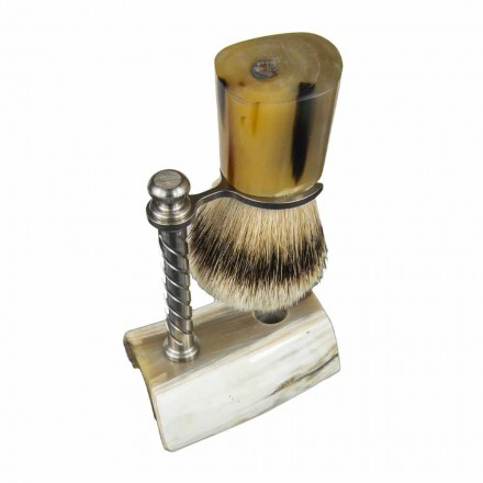 Kit de barba con cepillo y portaescobillas en cuerno de buey Made in Italy - Diplo