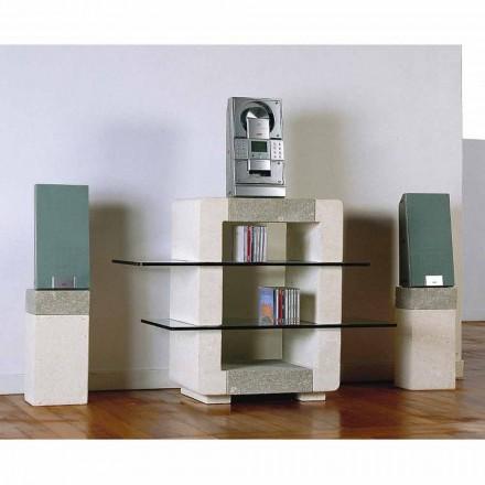 Porta TV hi-fi hecho a mano piedra de Vicenza y cristal Xeni