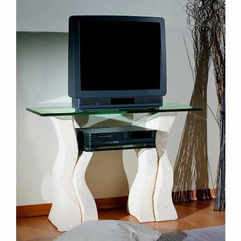 Porta Tv Cristallo Design.Porta Tv Hecho A Mano Con Piedra De Vicenza Y Cristal Khloe