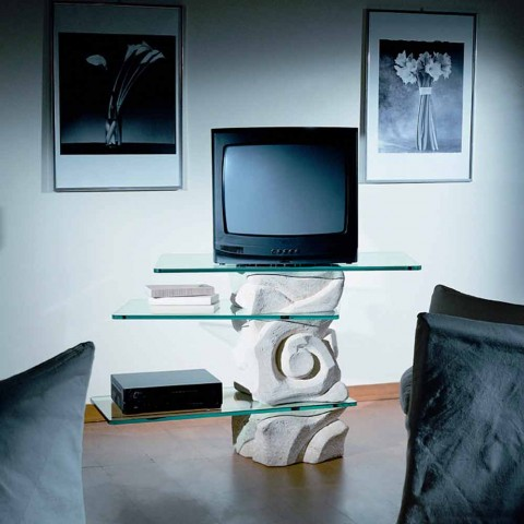Porta Tv Cristallo Design.Porta Tv De Piedra Vicenza Y Cristal Esculpido A Mano Agape