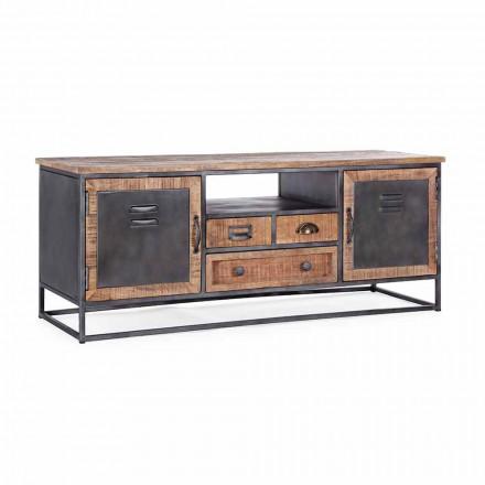 Mueble para TV de estilo industrial en madera de mango y acero Homemotion - Rupia
