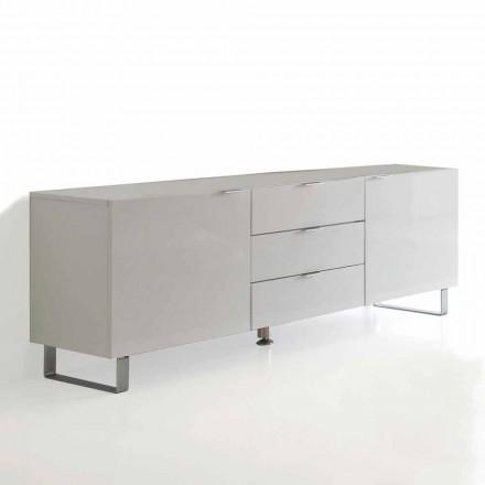 Mueble TV moderno lacado blanco con 3 cajones y 2 puertas Saffo