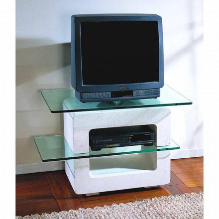 Porta TV hecho a mano con piedra de Vicenza y cristal Eleni