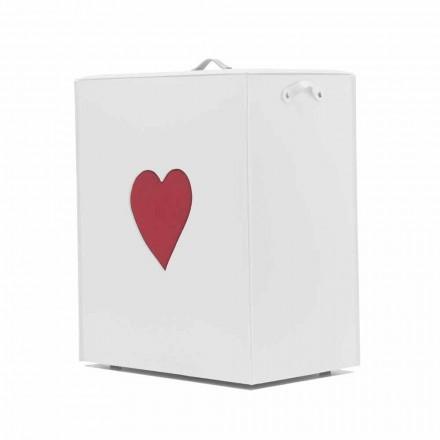 Cesto de ropa de cuero contemporáneo hecho en Italia Adele, inserción de corazón