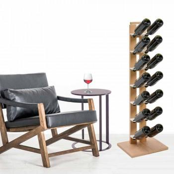Zia Gaia columna vino estante con estantes de madera hechos en Italia