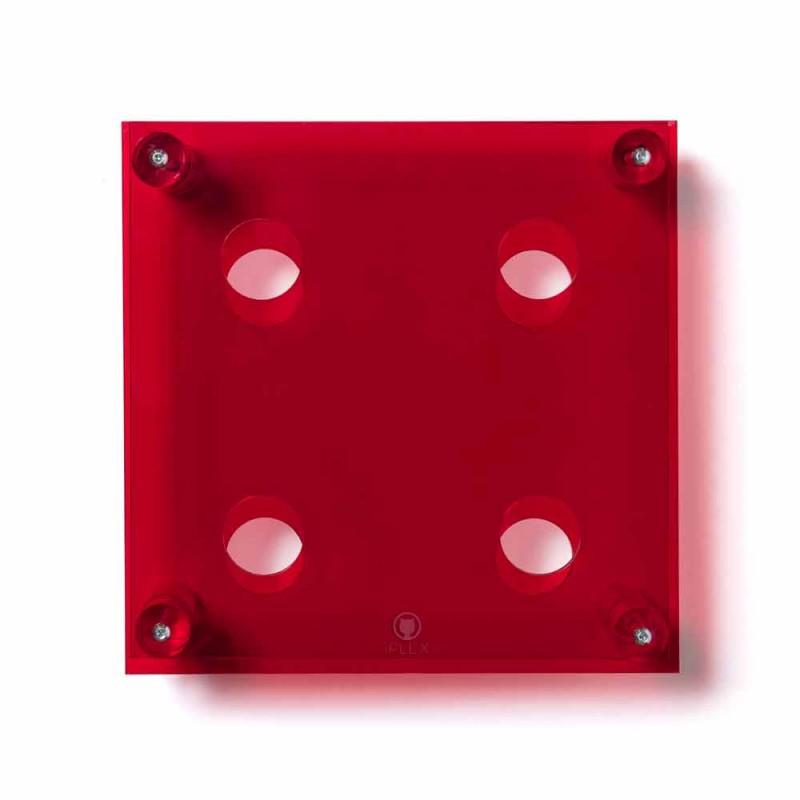 Amin Pequeño botellero moderno de pared roja L30xH30xP13,6cm