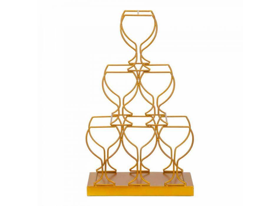 Portabotellas de hierro de diseño moderno de 6 plazas - Brody