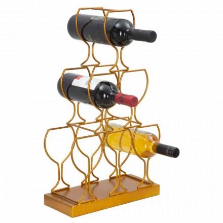 Botellero para mesa o suelo 6 botellas de hierro, diseño moderno - Brody