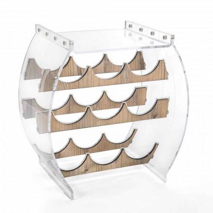 Portabotellas de piso en plexiglás transparente y diseño de madera 9 lugares - Stria