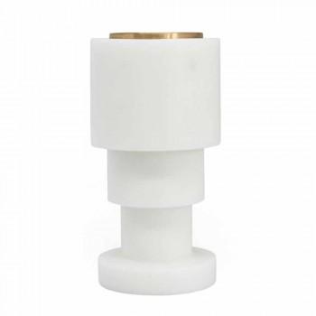 Candelabro bajo en mármol blanco de Carrara y latón Made in Italy - Benton