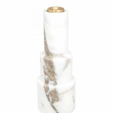 Candelero moderno en mármol blanco de Carrara y latón Made in Italy - Allan