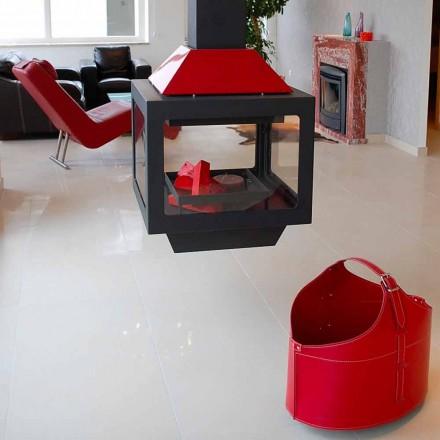 Porta leña moderno de cuero regenerado con ruedas Fabia