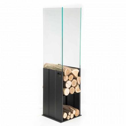 Soporte de madera interno de diseño moderno en acero y vidrio Made in Italy - Mistral