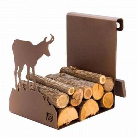 Soporte para leña de interior en acero marrón Made in Italy con herramientas - Volturno