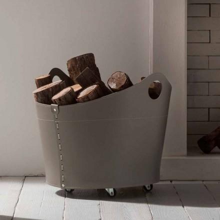 Porta leña de interior de cuero de diseño con ruedas Cadin