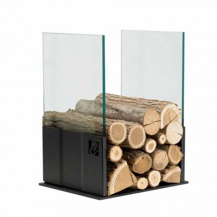 Porta leña de diseño para interiores de cristal y acero PVP