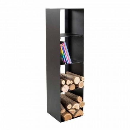 Porta registro de madera moderno interior negro con estantes Made in Italy - Cauro1