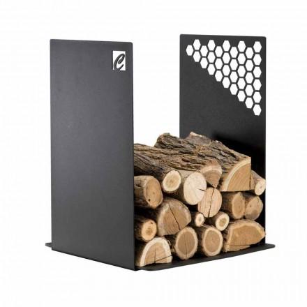 Porta leña de diseño para interiores hecho en acero PLU