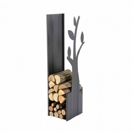 Soporte de leña de acero para interiores para chimenea de diseño moderno - Maestrale1