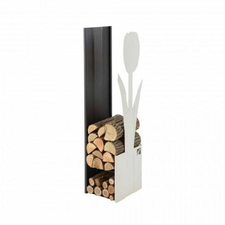 Porta-troncos moderno de madera para interior hecho en Italia - Maestrale2