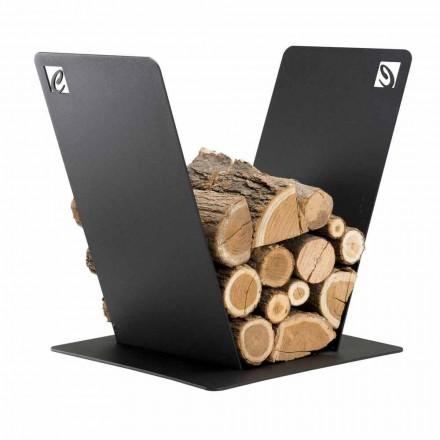 Soporte de madera para chimenea Diseño moderno en acero negro Made in Italy - Vespero
