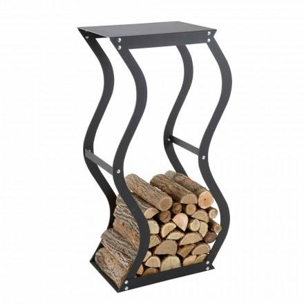 Soporte de madera de diseño en acero negro para interiores Made in Italy - Traversone