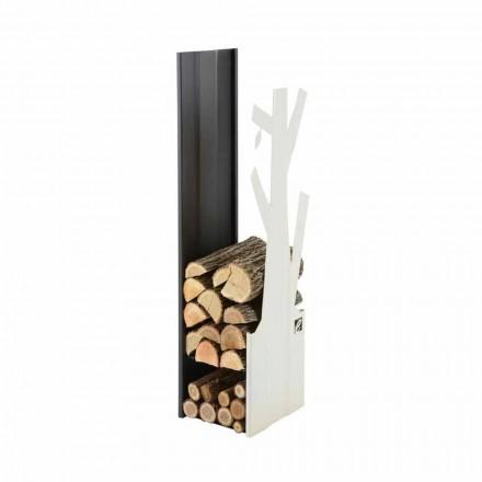 Porta leña de diseño hecho en acero para interiores PLVA-028