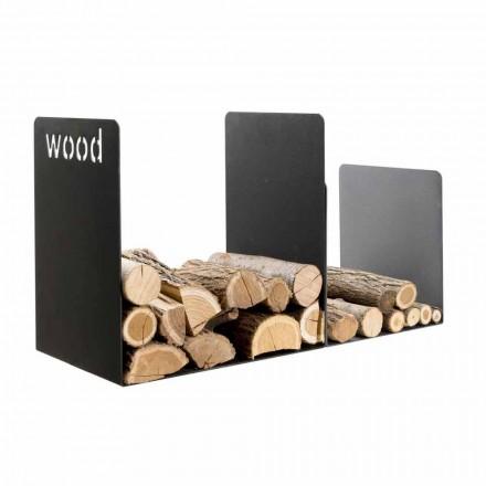 Soporte de madera doble en acero negro con decoración lateral Diseño moderno - Altano1
