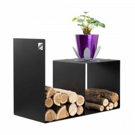 Soporte de madera de diseño moderno con mesa interior en acero negro - Cecia