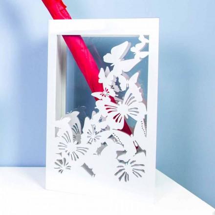 Paragüero de madera blanca con diseño moderno decorado con mariposas - Papilio