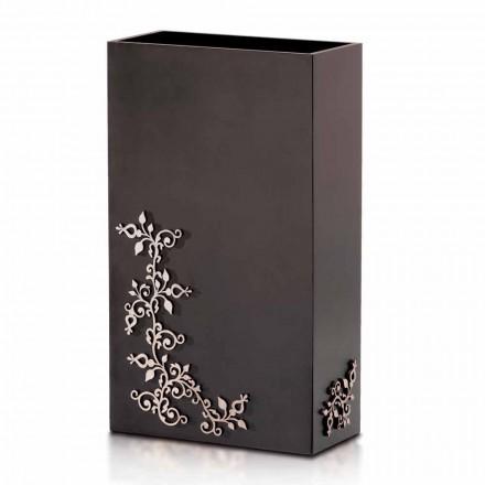 Paragüero moderno y elegante de diseño rectangular en madera decorada - Dekoro