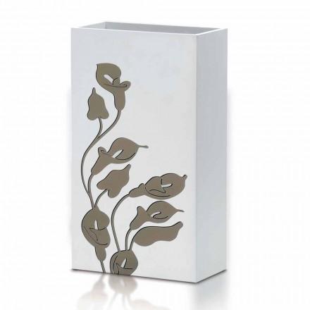 Paragüero de madera blanca de diseño moderno con decoraciones florales - Caracalla
