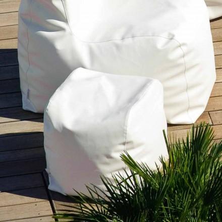 Pouf de diseño de ecopiel náutica blanca made in Italy Cloud