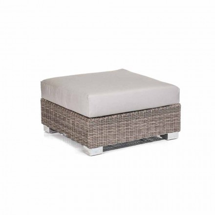 Puf moderno para exteriores de polietileno gris modelo Jaco