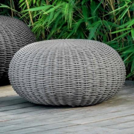 Puf mediano y redondo Jackie de Talenti para jardín cubierto de cuerda