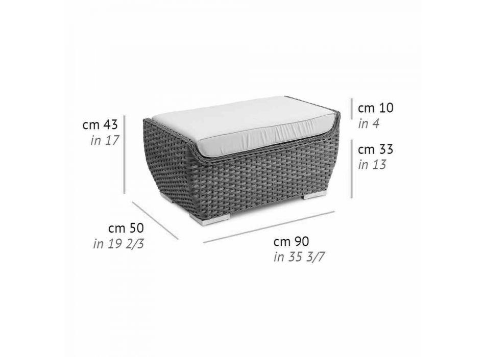 Banco de exterior Puf en diseño de lujo de ratán sintético tejido - Yves