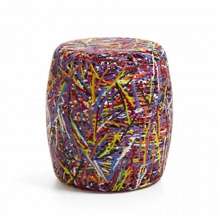 Pouf / heces hecha de multicolor derretido material plástico o blanco Weky