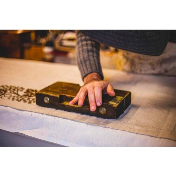 Agarraderas de arte italiano en lino puro con estampado a mano de una sola pieza - Marcas