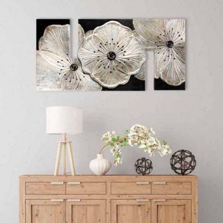 Cuadro con flores moderno Petunia Piccola Argento de Viadurini Decor