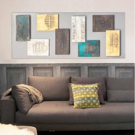 La pintura moderna con una lona marrón y ocho elementos de textura Andrew