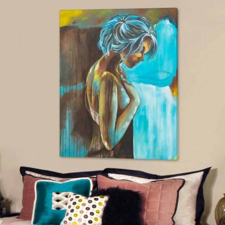 Mujer pintura moderna decorado a mano con detalles en resina dulce