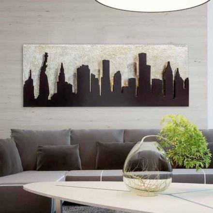 La pintura moderna en la lona con relieve de color café Manhattan Donald