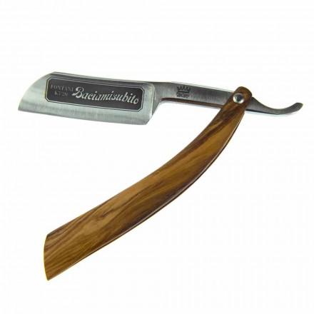 Navaja recta con hoja de acero y Coramella Made in Italy - Mello