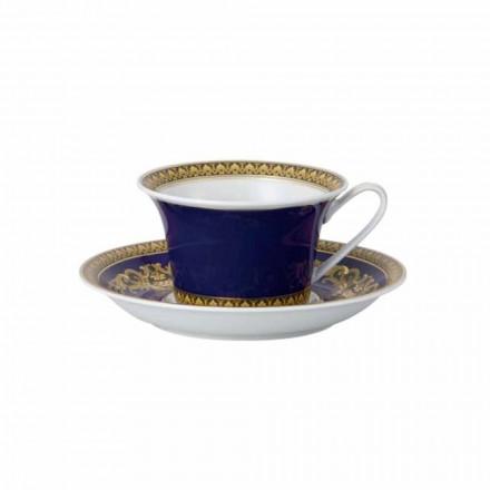 Rosenthal Versace Medusa Taza azul de té de porcelana del diseño moderno