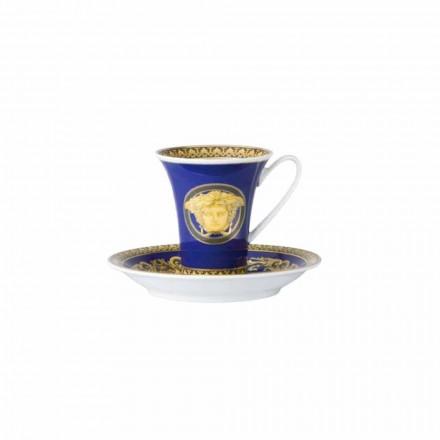 Copa Rosenthal Versace Medusa azul del diseñador de la porcelana de café